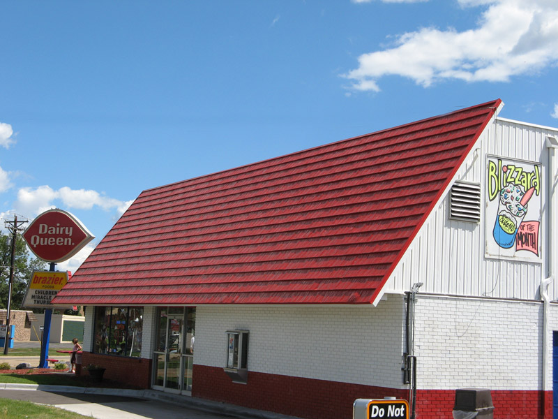 red shingle roof building